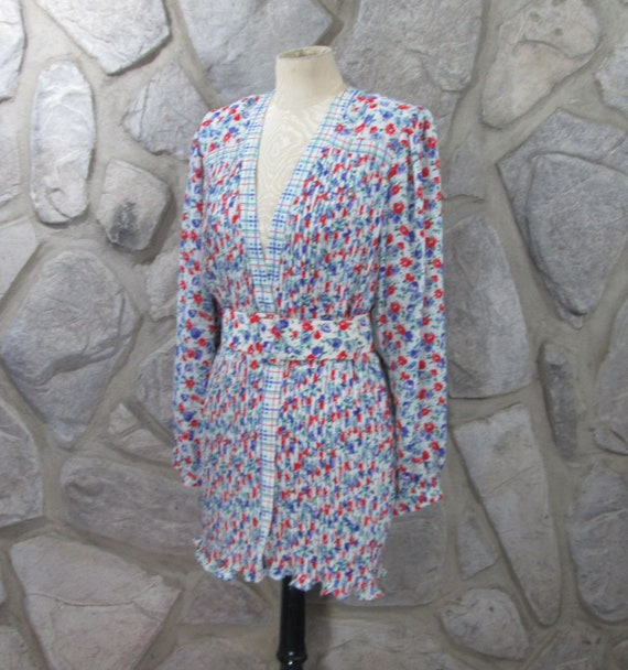 Vintage 80's Diane Fres Pleated Belted Blouse