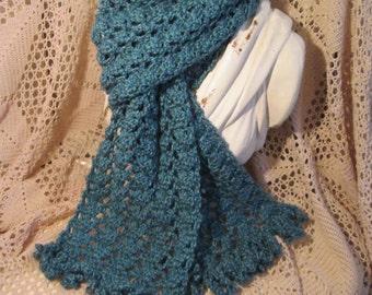Handmade Blue Lace Crochet Scarf