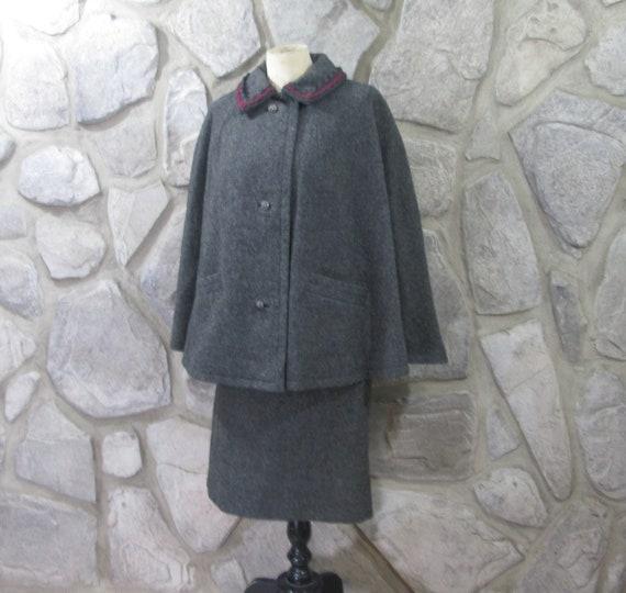 Vintage Resi Hammerer Austria Gray Wool Cape Suit
