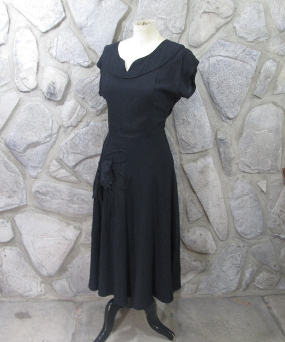 Vintage 1940's Black Rayon Cocktail Dress - image 1