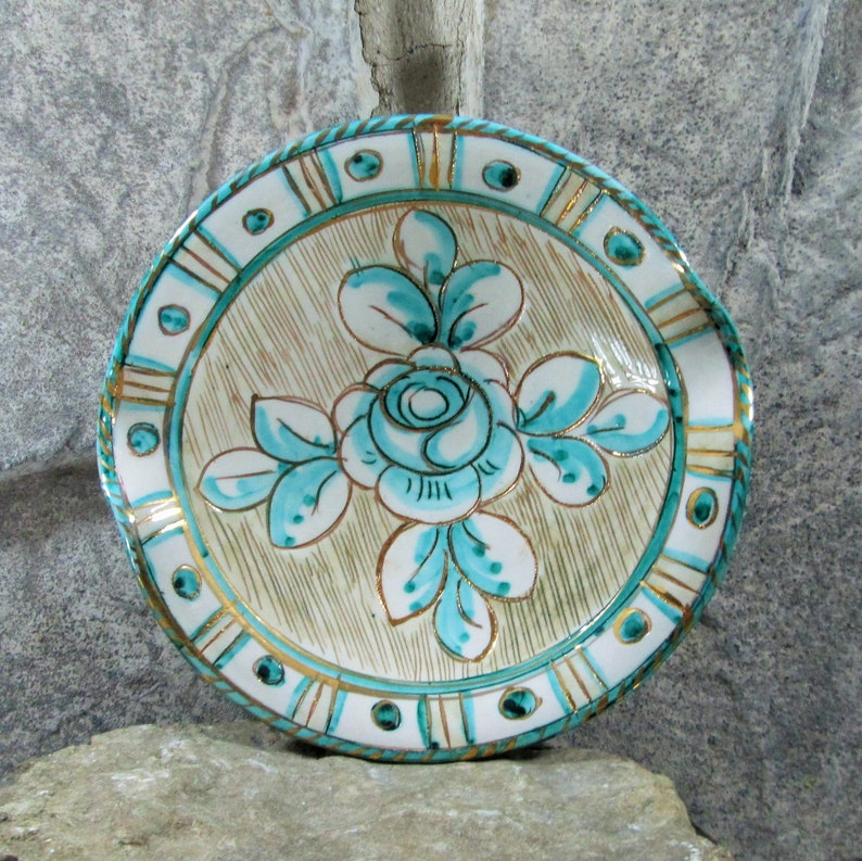 Mid Century Modern Ceramic AshtrayDish with Sgraffito Design Vintage