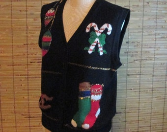 Vintage Ugly Christmas Sweater Vest with Beads