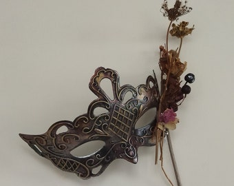 Nature Masquerade Mask On Stick Woodland Fairy Forest Pixie Women Domino Halloween Party Mask