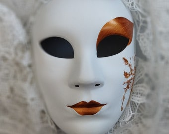 Venetian Masquerade Mask White Full Face Party Mask Women Butterfly Volto Mask Italian Wall Art