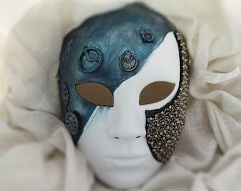 Venetian Full Face Masquerade Mask Men Steampunk Unisex Warrior Mask Clock Time Traveler