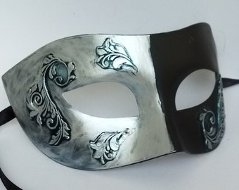 Black Silver Masquerade Mask Unisex Halloween Cabaret Show Ornate Venetian Style Party Mask Limited Offer