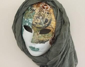 Venetian Masquerade Mask Steampunk Full Face Unisex Mask Free Gift Time Clock Rust Antique Copper Italian  Wall Art