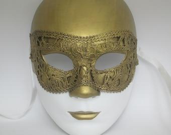 Masquerade Mask Women White Gold Bronze Full Face Venice Carnival Mask Italy Wall Art