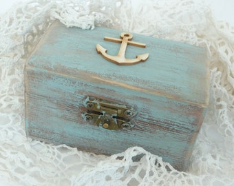 Rustic Nautical Ring Box Anchor Ship's Rope Coastal Beachy Wooden Treasure Chest Personalized Custom Wood Weathered Driftwood Box