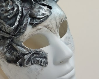 Masquerade Mask Women New Gorgeous Antique Silver Full Face Mask Collector's Venetian Mask