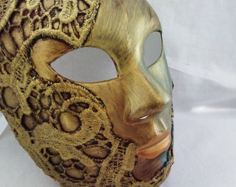 Full Face Masquerade Mask Wall Art Collectors Gift Unusual Antique Gold Venetian Mask