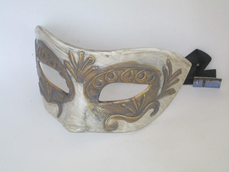 Men/'s Masquerade Mask White Bronze Gray Blue Venetian Domino