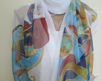 Silk Scarf Women Colorful Hand Painted Viscose Silk Mini Pareo Sarong Painting by hand Long scarf Luxury giftGift for Mother