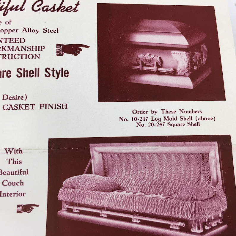 Casket Ad Gay and Son, Vintage Funeral Ephemera, Johnstown PA