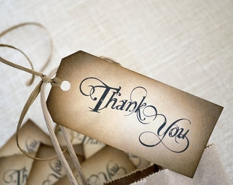 Thank You Tags - Hand Inked, Rustic Wedding Tags with Raffia - Set of 30 Eco Friendly Wedding, Shower, Place Setting, Favor Tags