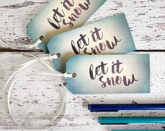 Let It Snow Tags - Winter Gift Wrap with Raffia - Eco Friendly Pool Blue, Aqua Winter Wedding Favor Tags - Hanukkah & Christmas Gift Tags