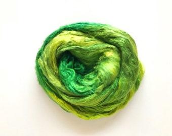 Hand-Dyed Silk Bricks A1 quality. 100% Silk Fiber known as Mulberry Silk for Felting, Spinning, Knitting, GREEN Fiber Art, Felt.