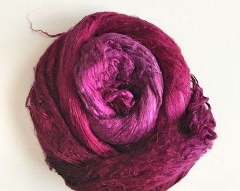 Hand-Dyed Silk Bricks A1 quality. 100% Silk Fiber known as Mulberry Silk for Felting, Spinning, Knitting, BURGUNDY Fiber Art, Felt