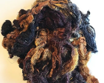 Hand Dyed Silk Mulberry Throwster Fiber for Felting, Spinning, Knitting. BROWN, MUSTARD and GOLD.