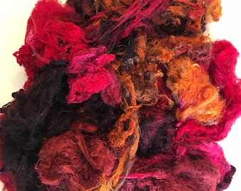 Hand Dyed Silk Mulberry Throwster Fiber for Felting, Spinning, Knitting. MAHOGANY, RED and GOLD.