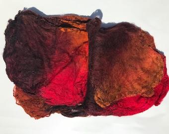 Hand Dyed Silk Fiber Mawata Silk Hankies for Felting, Spinning, Knitting. GOLD, RED and MAHOGANY .