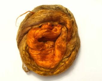 Hand-Dyed Silk Bricks A1 quality. 100% Silk Fiber known as Mulberry Silk for Felting, Spinning, Knitting, Gold, Nuno Felt, Fiber Art.