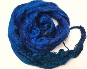 Hand-Dyed Silk Bricks A1 quality. 100% Silk Fiber known as Mulberry Silk for Felting, Spinning, Knitting, TEAL and BLUE Fiber Art, Felt.
