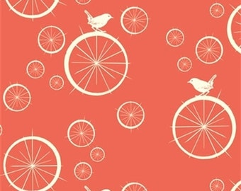 Bird Fabric - Birch Organic Cotton Fabric - Mod Basics Poplin - Birdie Spokes Coral - Coral Colored Fabric - Salmon colored fabric