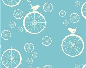 Bird Fabric- Birch Organic Cotton Fabric - Mod Basics Poplin - Birdie Spokes Pool - Quilting Cotton - Blue-green Organic Cotton