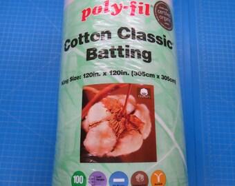 "100% Organic Cotton Batting// King Size// 120""x120""//Fairfield Cotton Classic Batting"