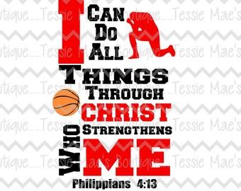 I Can Do All Things Basketball, Football, Baseball, Volleyball, Soccer Religious Shirt, Boys Shirt, Basketball Shirt