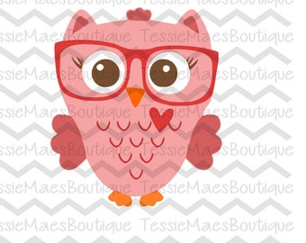 Owl Heart with Glasses, Valentine's Day Owl, Valentine's Day, Love Owl, SVG, DXF, EPS, Png, Printable, Cutting File, Silhouette, Cricut