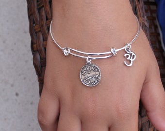 Zodiac Bracelet...Expandable Silver Plated Zodiac Charm Bangle Bracelet with OM Charm