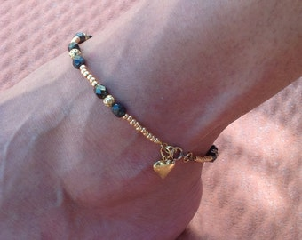 Beaded Ankle Bracelet Czech Glass Beads and Heart Charm