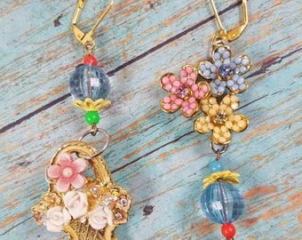 Assemblage vintage earrings- pastel earrings- basket- spring time- handmade earrings- garden-romantic jewelry- vintage brooch