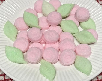 Pink Sugar Cube ROSES and Green LEAVES  for Tea Party . Weddings . Baby Showers and Birthday Party's
