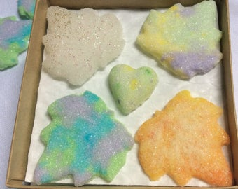 Rainbow Sugar Cube Maple Leaves with Hearts for Tea.Coffee.Weddings.Baby Showers and Party's