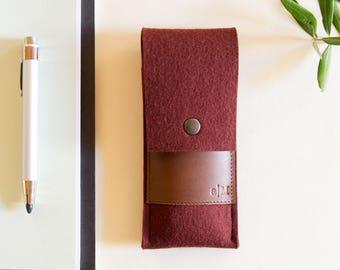 Felt and leather PEN HOLDER / sunglasses case / pencil case / wool felt / felt case / handmade / made in Italy