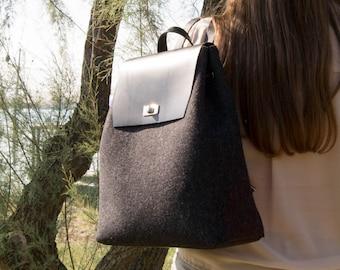 Felt and leather BACKPACK   charcoal backpack   felt backpack   black  backpack   wool felt   handmade   made in Italy ae35dd521b7d3