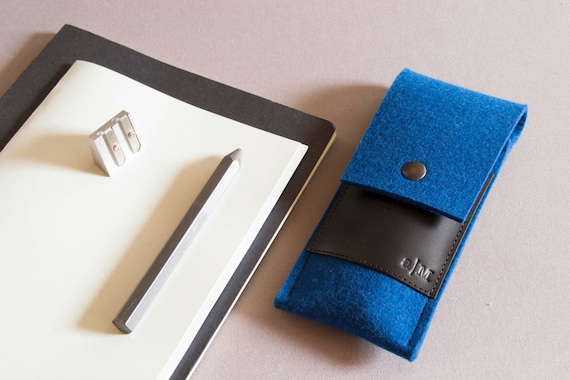 Felt and leather PEN HOLDER, sunglasses case, pencil case, blue and black, wool felt, handmade, made in Italy