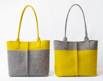 Wool Felt TOTE BAG grey and mustard / two tone tote bag / womens bag / felt shoulder bag / yellow bag / grey bag / made in Italy