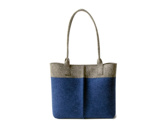 Wool Felt TOTE BAG gray and blue / bicolor tote bag / womens bag / felt shoulder bag / blue bag / gray bag / made in Italy