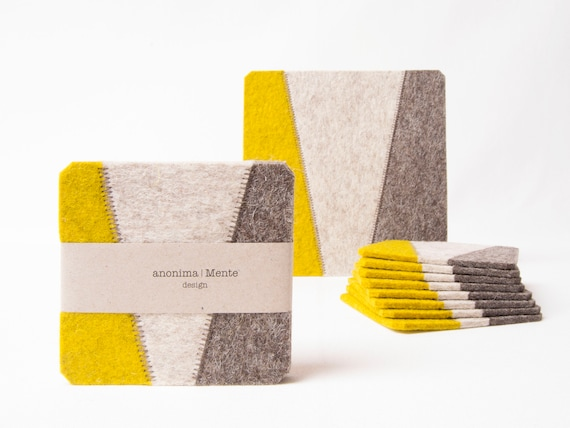 Set of felt coasters / square coasters / grey and mustard / modern home design / wool felt / gift idea / made in Italy
