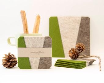 Set of felt coasters / square coasters / green and grey coasters / green coasters/ modern home design / wool felt / gift idea