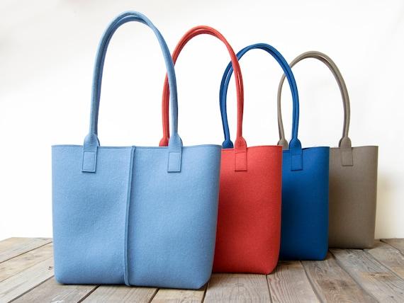 Wool Felt TOTE BAG / light blue tote bag / light blue bag / womens bag / felt shoulder bag / carry all bag / made in Italy