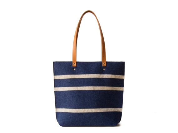 Striped TOTE BAG with leather straps / wool felt tote bag / blue and oatmeal bag / womens bag / felt shoulder bag / blue bag / made in Italy
