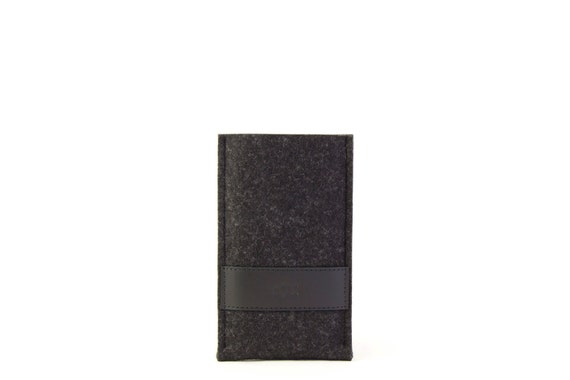 Felt IPHONE 6 Plus CASE with leather band, wool felt, vegetable tanned leather, handmade, made in Italy