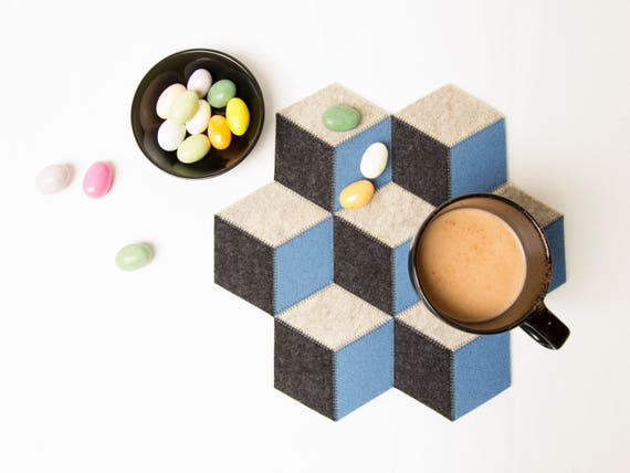 Small table mat / wool felt / light blue and grey / wool felt mat / geometric table mat / handmade / made in Italy