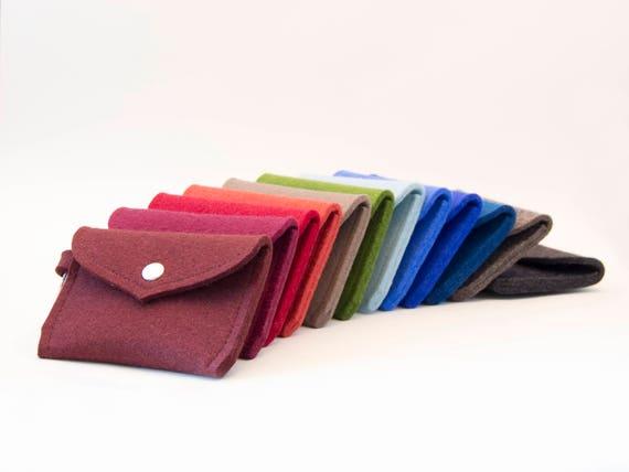 Wool felt PURSE, wallet, coin purse, key holder, felt cardholder, business card holder, gift idea, made in Italy