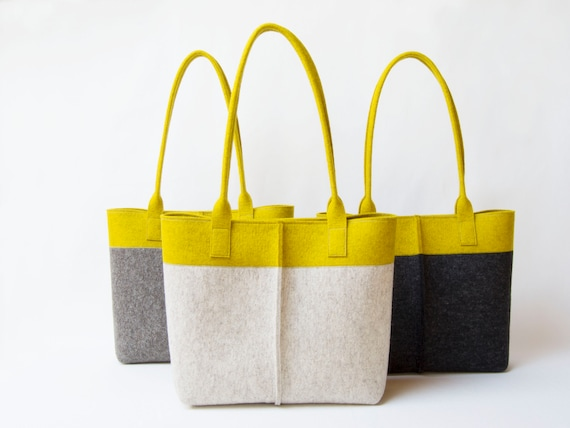 Wool Felt TOTE BAG oatmeal and mustard / two tone tote bag / womens bag / felt shoulder bag / beige bag / yellow bag / made in Italy